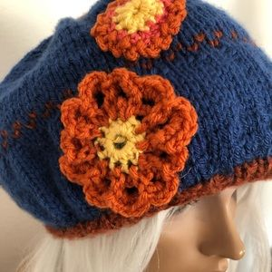 Hand Knits 2 Love ❤️ Accessories - Hand Knits 2 Love Hat Slouch Cap Flowers Designer